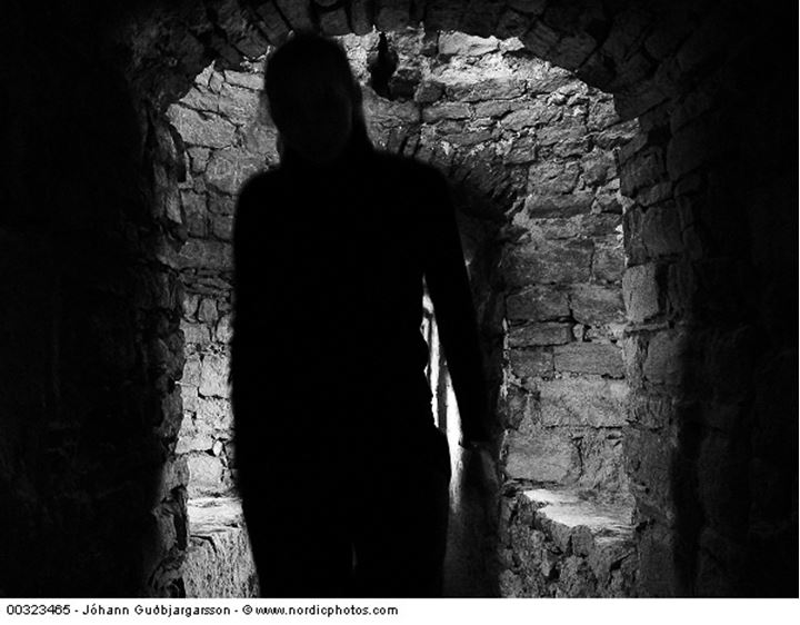 Silhouette of a woman in a corridor of a castle