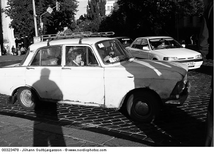 "An old ""Moscvich"" at a crossroads, Ukraine"
