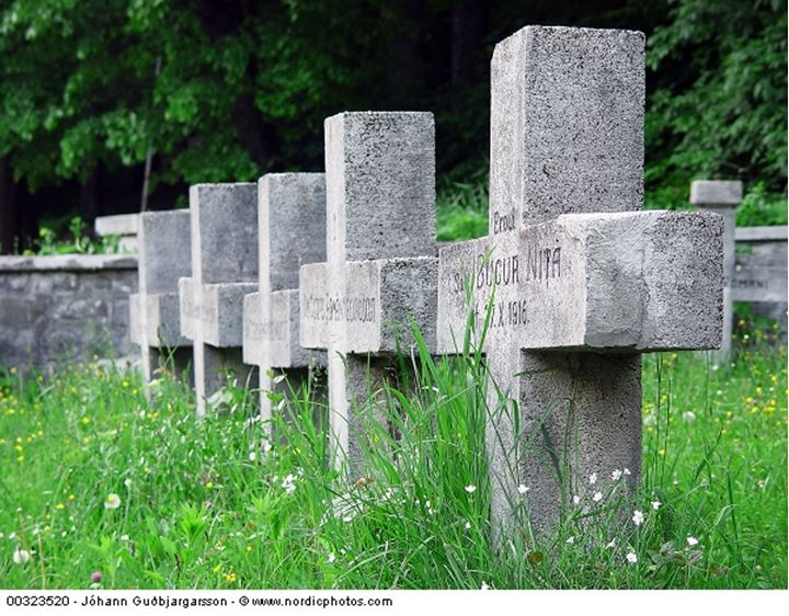 A row of stone crosses in a cemetery