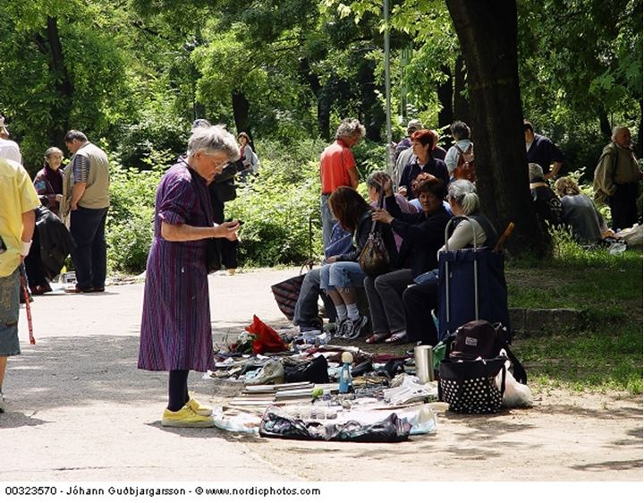 Woman selling merchandise at a park
