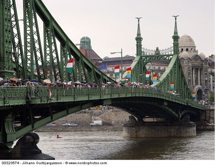 Protesters on a bridge in Budapest, Hungary