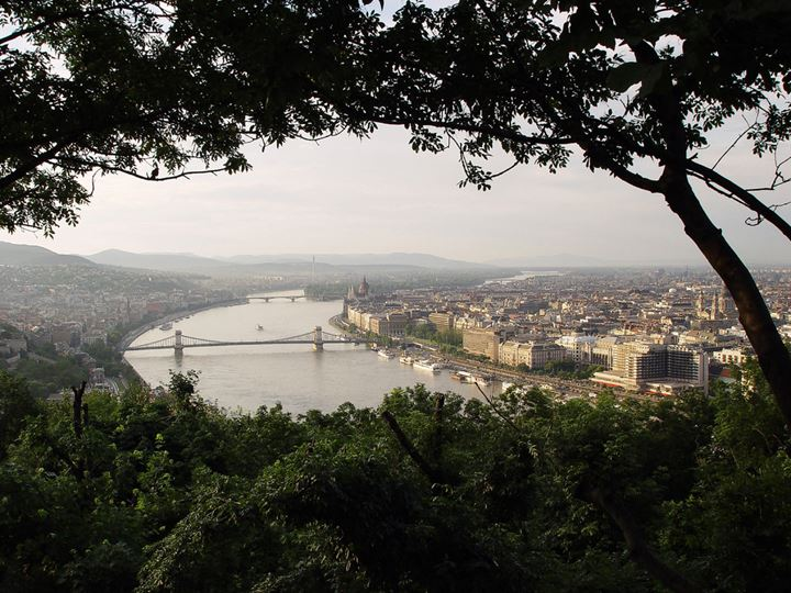 Panoramic view of Budapest and Danube from the hill out of city