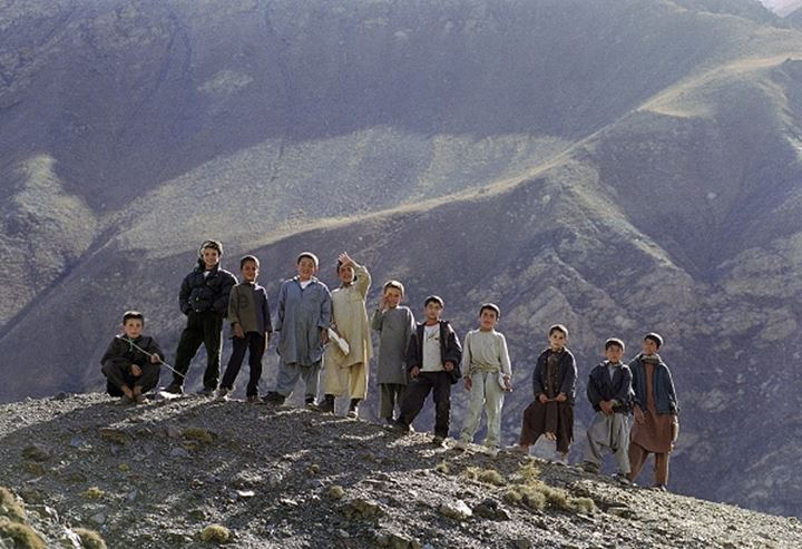 Boys standing side by side, Afghanistan