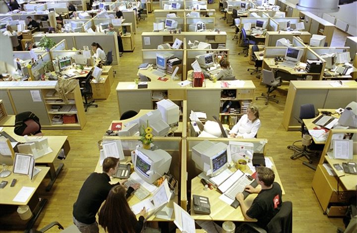 High angle view of a group of people working in an office