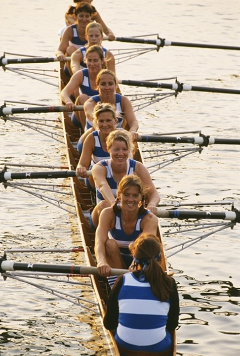High angle view of a rowing team