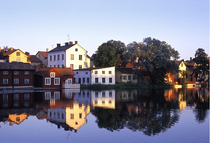 Reflection of houses and trees in Eskilstuna, Sweden.
