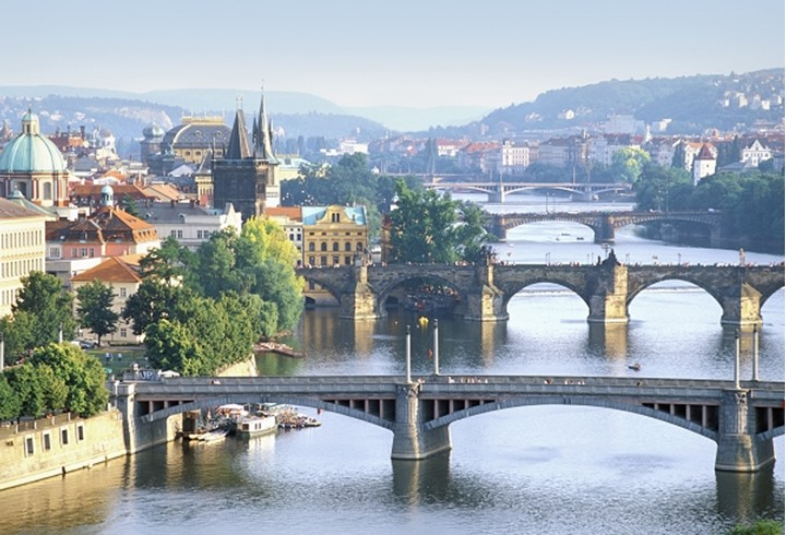 Czech_Republic, Prague - bridges over Vltava River.