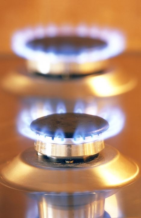 Close up of flames on gas stove.