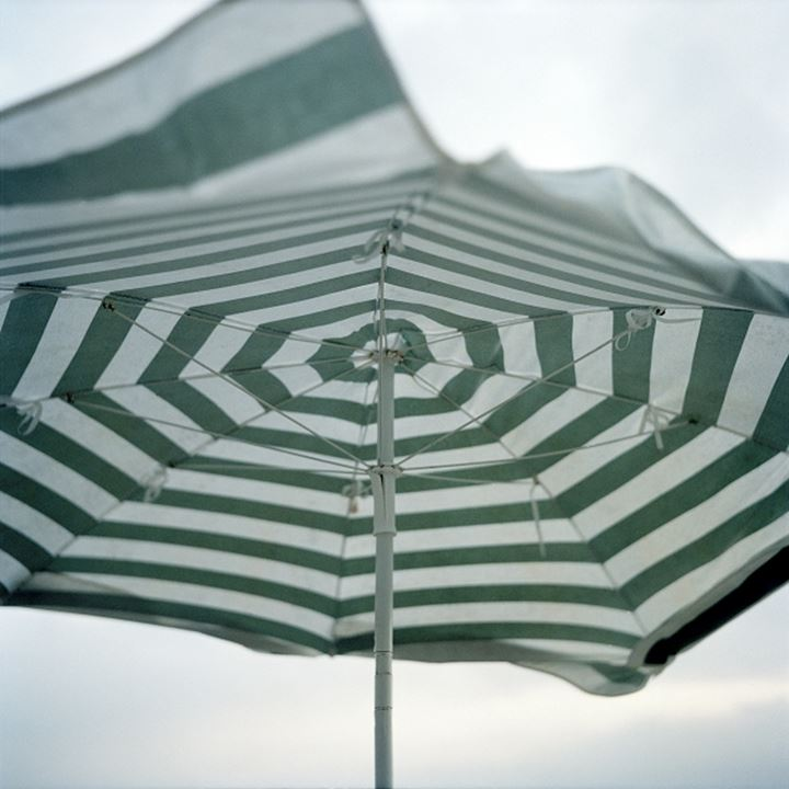 A striped parasol