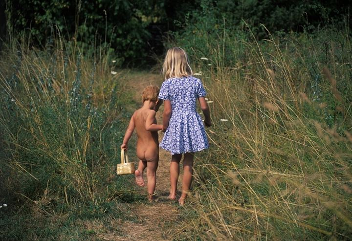 Children walking  on a path, Gotland