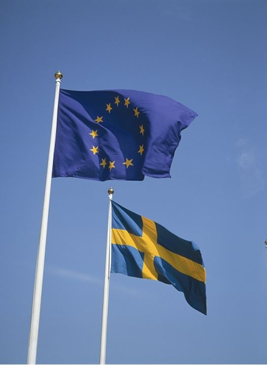 Flags of European Union and Sweden