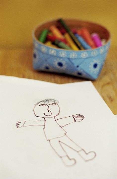 Crayons in a bowl and a drawing of a man
