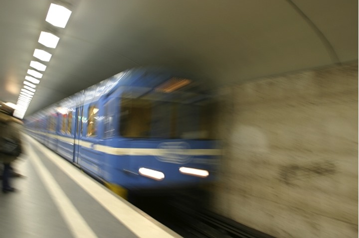 Blurry view of a train in motion at Stockholm, Sweden