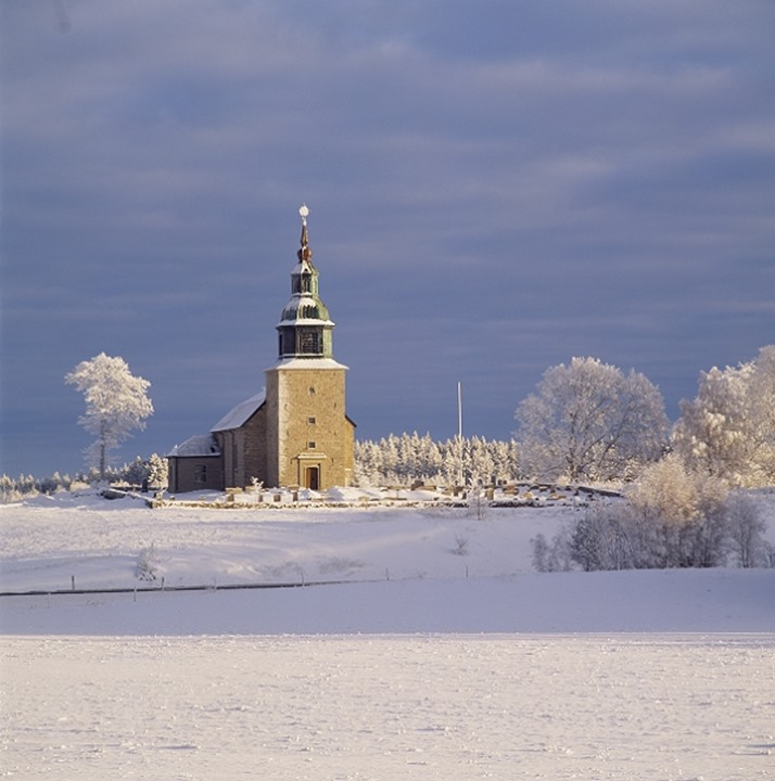 Church Bjurum in winter, West Gotland, Sweden