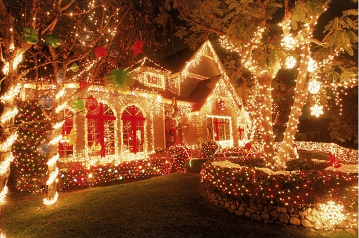 A house and garden covered with Christmas lights and decorations