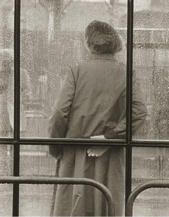Rear view of a person leaning against a window