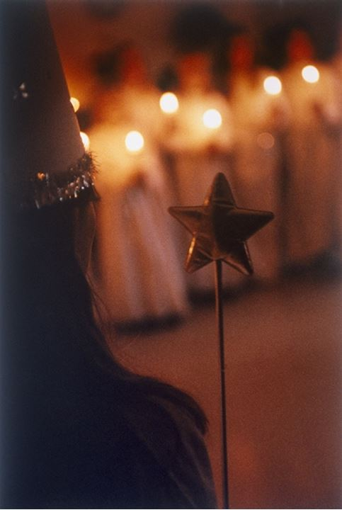 Children partaking in a church ceremony at Christmas, Sweden