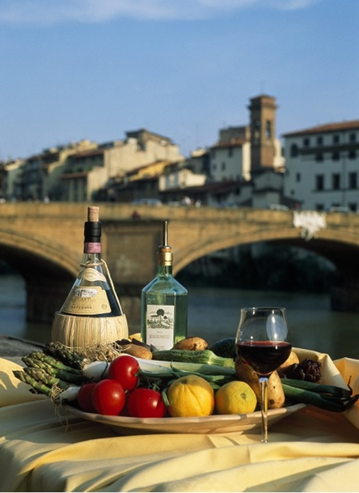 Florence Italy - Italian food and wine still life