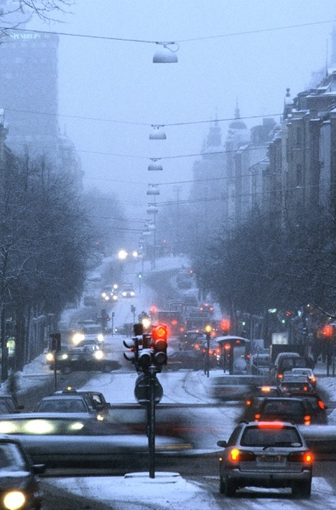 Stockholm, Sweden - traffic in winter