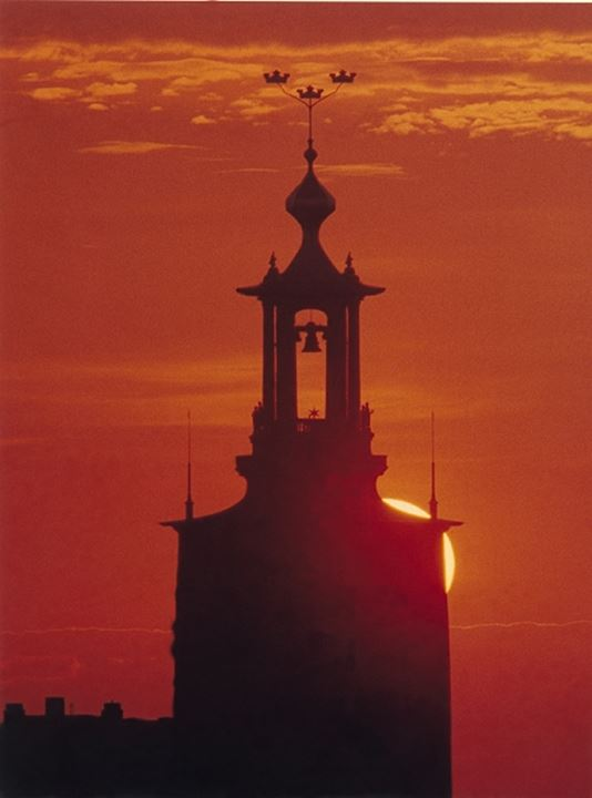 Silhouette of a bell tower at sunset, Stockholm, Sweden