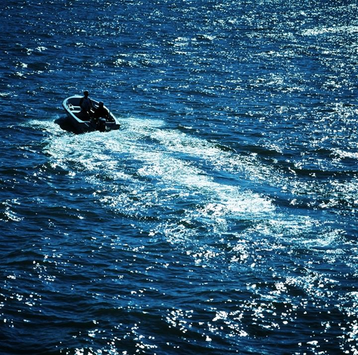A motor boat on the water