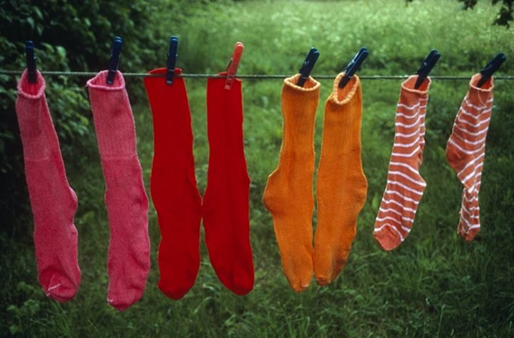 Socks drying on a clothesline