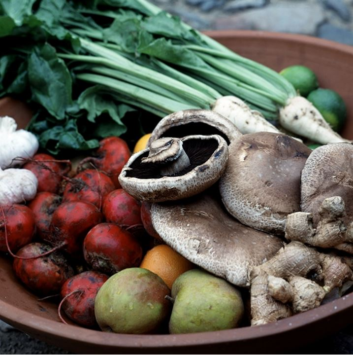 Close-up of vegetables and fruits on a bowl