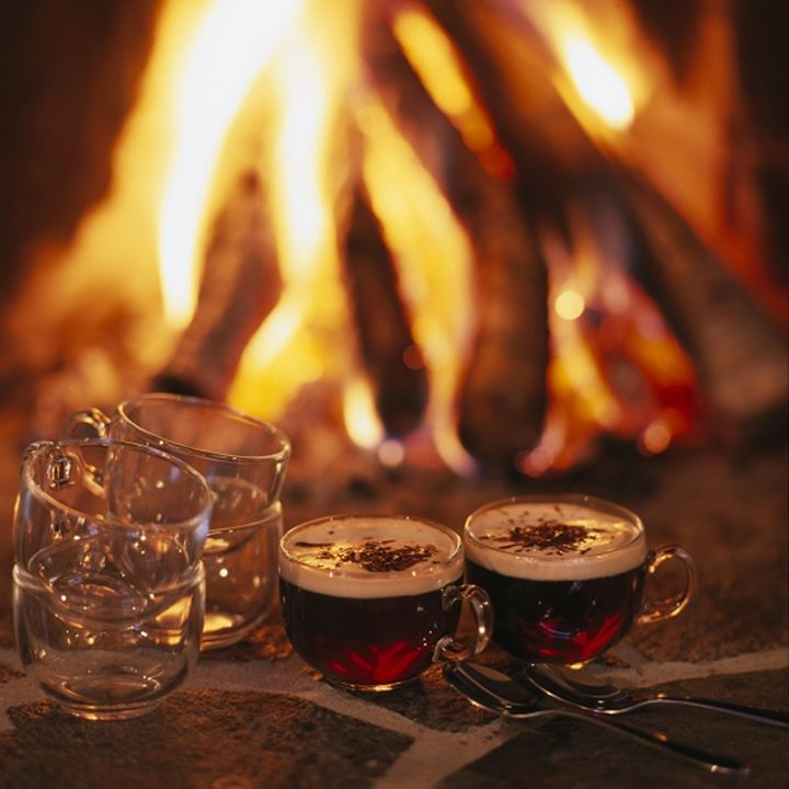 Christmas punch by a bonfire, Sweden