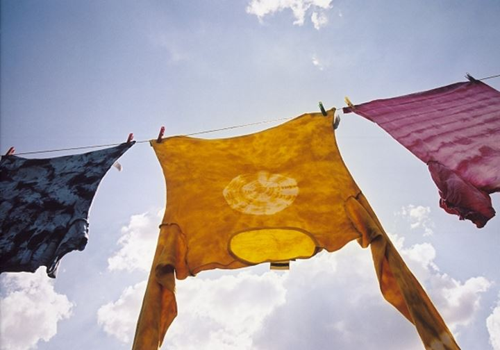 Low angle view of clothes hanging on a clothesline