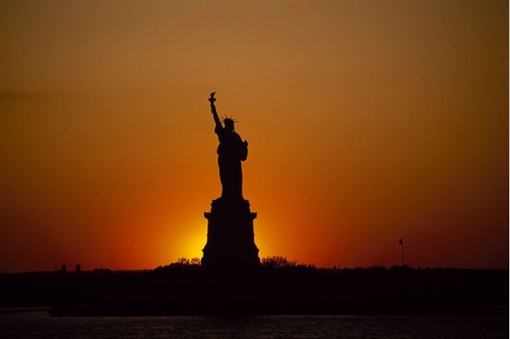 Silhouette of a statue, Statue of Liberty, New York City, New York State, USA