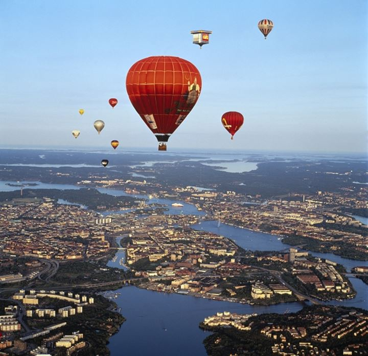 One of balloons in Stockholm sky