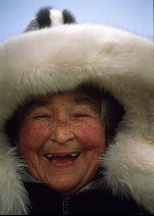 Portrait of a senior woman laughing, Greenland