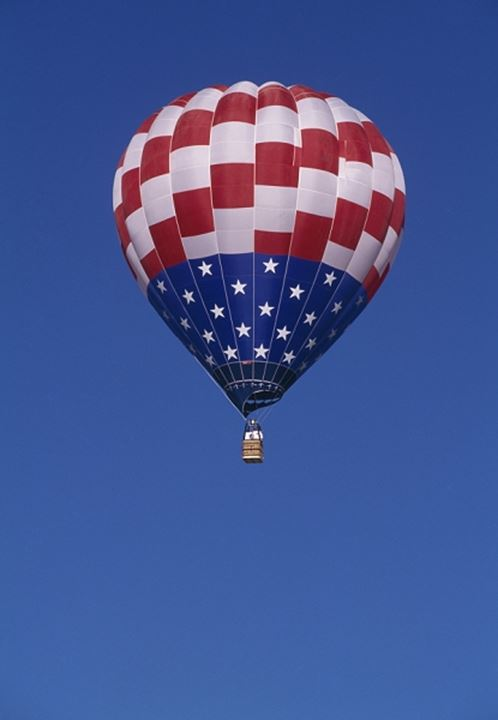 Low angle view of a hot air balloon in the sky, USA