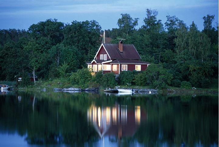 Reflection of a building in water, Sweden.