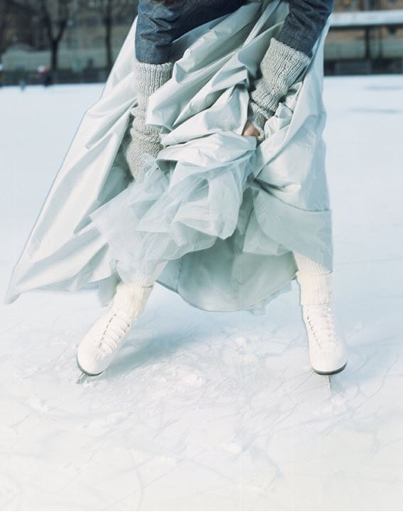 Low section view of a person ice-skating