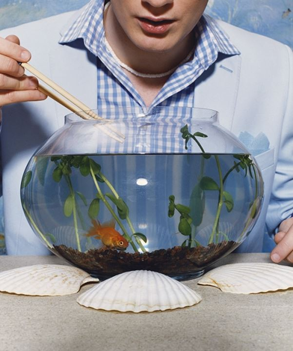 A man eating fish out of am aquarium