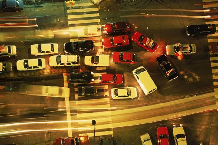 Intersection traffic at night from above