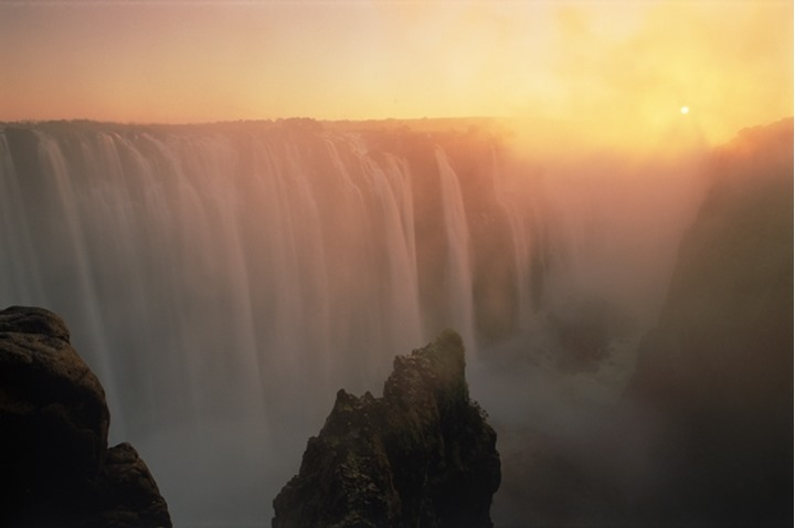 Zambezi River and Victoria Falls between Zimbabwe and Zambia