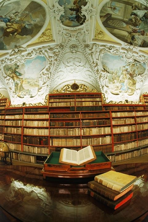 Theological Hall in Strohov Library at Strahov Monastery in Prague, Czech Republic
