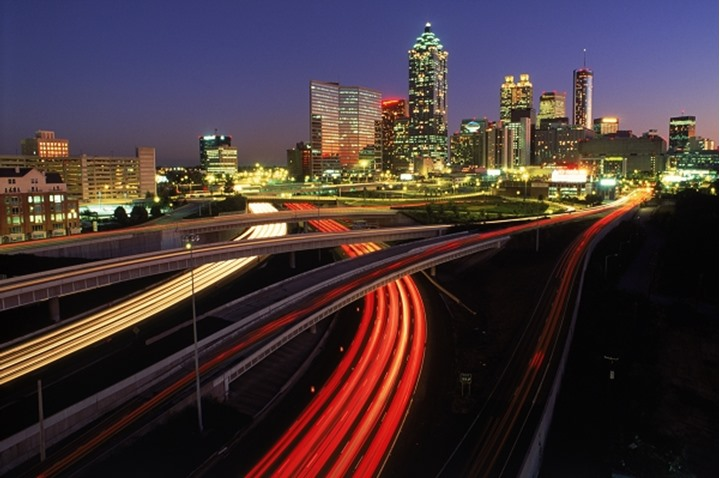 Flowing traffic on highways around Atlanta at dusk