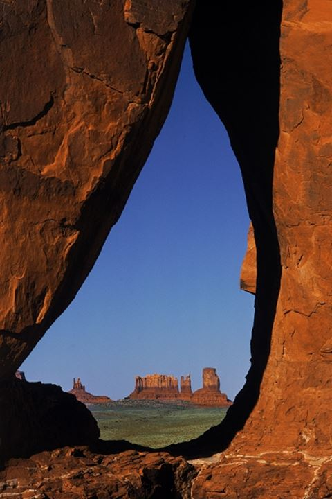 Framed view of  distant Monument Valley