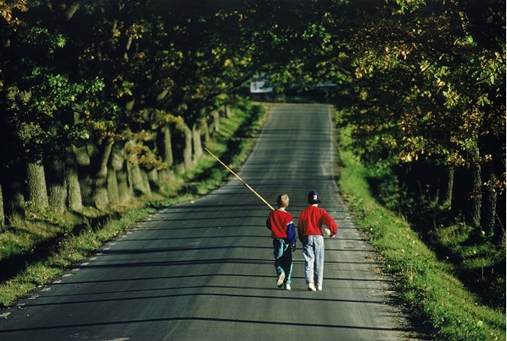 Brothers walking down tree lined country road in Sweden