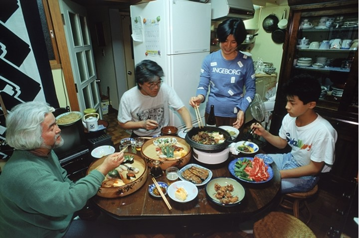 Typical apt. dinning area and family meal in Japan