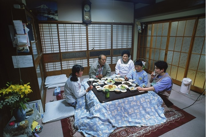 Typical rural family home, living and dinning area in Japan, Family dinner in Kyoto