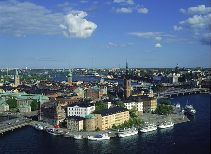 Overview of Riddarholmen and Old Town from City Hall in Stockholm