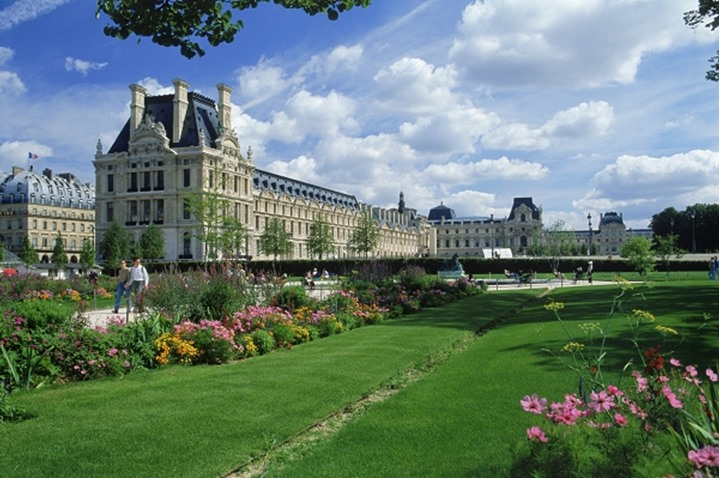 The Jardin Des Tuileries with Palais du Louvre in Paris  Royal Palace from the Garden of Tuileries
