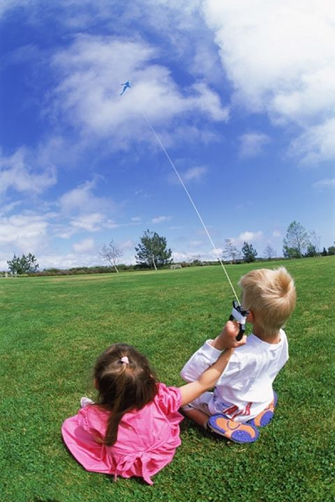 Boy and girl flying kite together in park