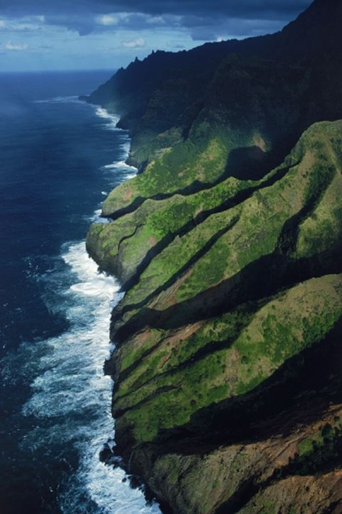 Aerial view of Napali Coast in Island of Kauai in Hawaii