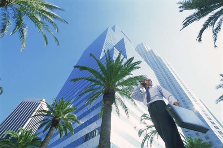 Businessman talking on cellphone with briefcase in Los Angeles