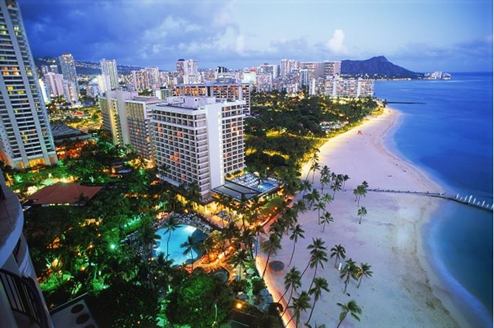 Overview of Waikiki beaches with Diamond Head at twilight